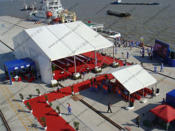 China Temporary Marquee Tent 15M Clear Span with Church Windows or Decoration for Outdoor Refugee or Parties supplier