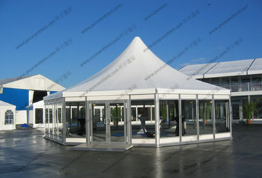 China Hexagonal Pagoda High Peak Frame Tent 4m x 4m With Glass Sidewalls Luxury Lining supplier