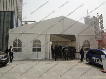 China White Aluminum Frame Exhibition Canopy Tent 15m Width With Luxury Lining Decoration supplier