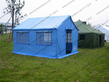 China Soft PVC Windows Outdoor Event Tent , Blue Roof Cover Refugee Tent For Disaster Relief supplier