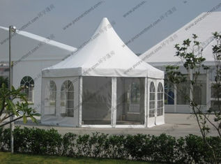 China White PVC Pagoda Party Tent , Luxury Outdoor Canopy Tent White With Glass Sidewalls supplier