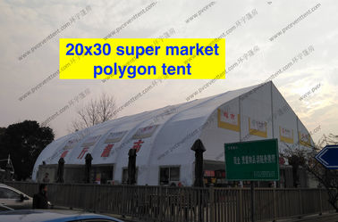 China Heat Resistant TFS Tent Easy Assembled With Inflaming Retarding White PVC Fabric supplier