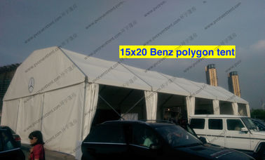 China Light Weight Cover Polygon Tent 15m x 20m White PVC Roof Mesh Window supplier