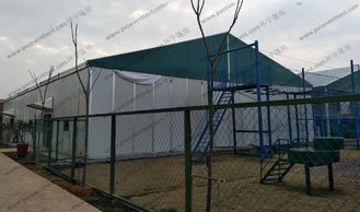 China Big Movable Outdoor Warehouse Storage Tent , Canvas Storage Tent Sandwich Panel Walling System supplier