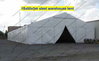 China Firm 18m Steel Frame Warehouse Storage Tent , White PVC Fabric Tent For Storage supplier