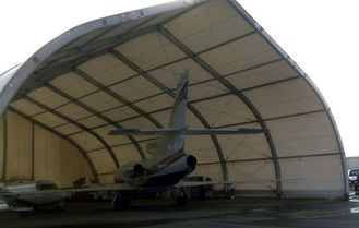China Curve Airplane Tent , Aluminum Structure Tent With Automatic Or Manual Lifting Door supplier