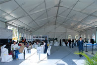 China White PVC Cover PVC Event Tent , Large 20m Clear Span Tent For Outdoor Auto Shows factory