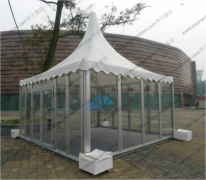 Aluminum Outdoor Pagoda Party Tents , Garden Marquee Tent With Glass Sidewalls