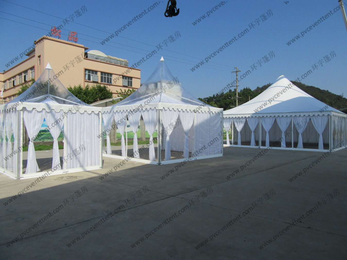 High Peak Luxury Transparent Marquee Tent Optional Size With Lining And Curtains