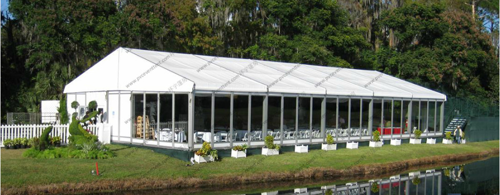 30 x 60 Meters Outdoor Event Tent , Clear Event Tent With Glass Sidewalls