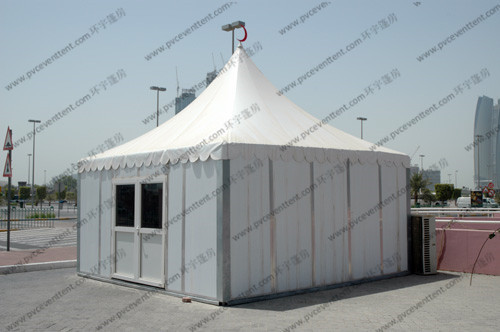 Temporary High Peak Tents Glass Door , Outdoor Hajj Tents As Catering / Stay Place