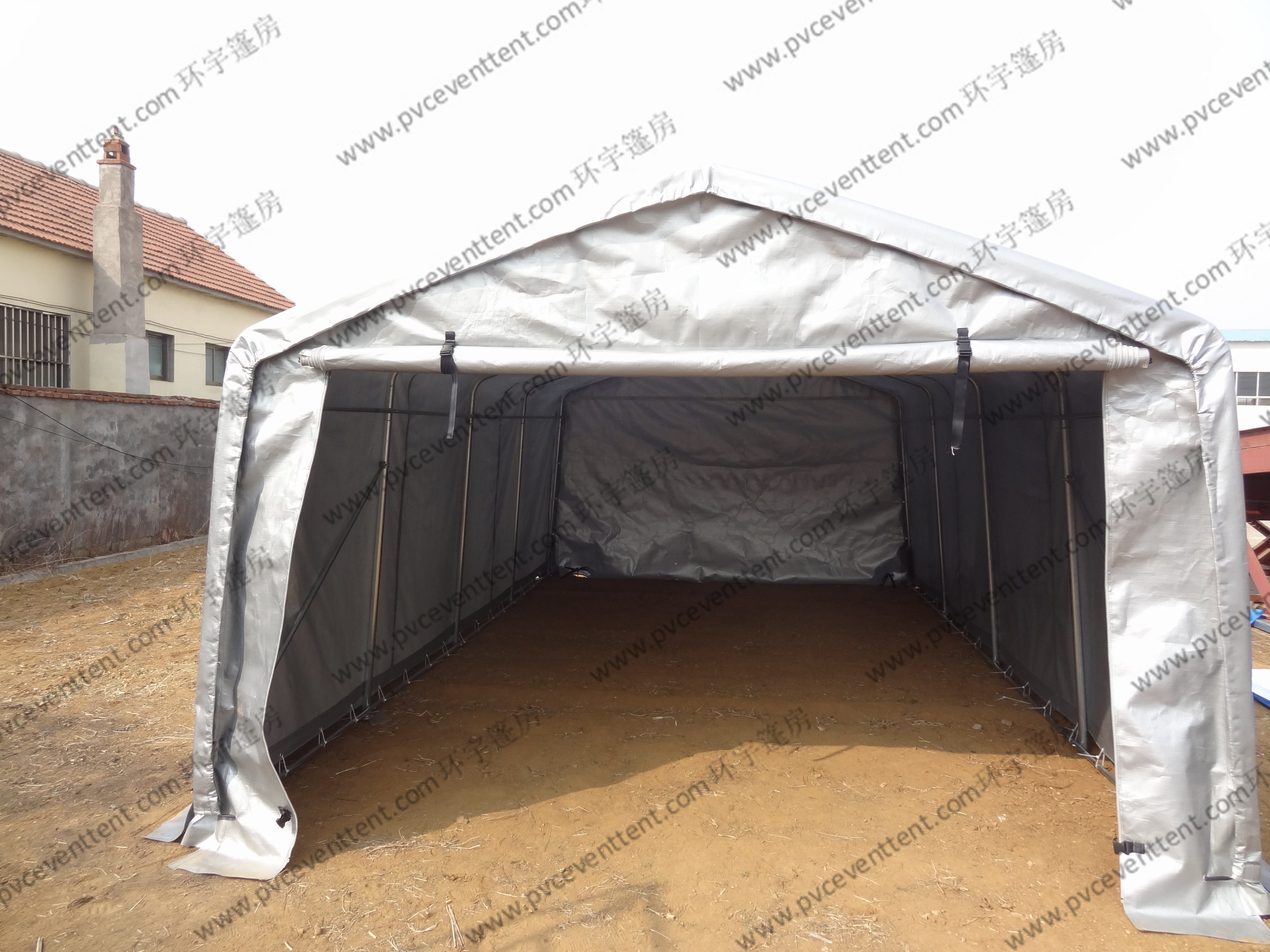 Silvery Gray Waterproof PVC Canvas Tent Single Tubular For Outdoor Exhibition