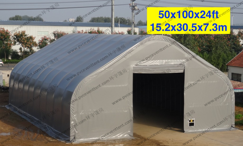 Temporary Curved Aircraft Tent Aluminum Frame Gray PVC Cover 10 x 30m
