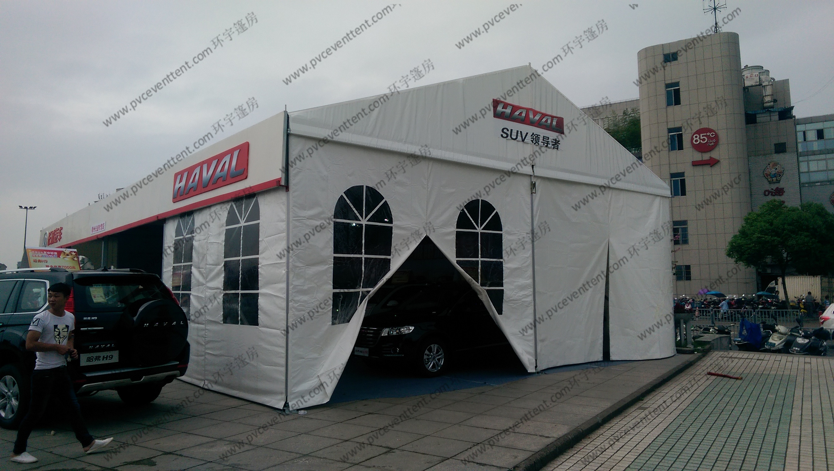 Movable PVC Fabric Outdoor Exhibition Tents Aluminum Frame Waterproof Temporary