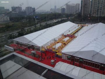 China PVC Safety Outdoor Exhibition Tents 30m 40m Width Expandable Bolts Fixing distributor