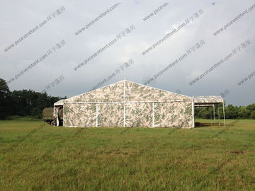 China Camouflage Roof Cover Military Surplus Canvas Tent Aluminum Structure For Army Training Base distributor