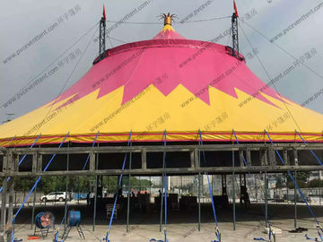 China Special Customized PVC Event Tent , Red And Yellow PVC Tarp Tent Roof Cover With Chairs factory