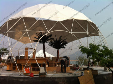 China Aluminium Frame Geodesic Dome Tent Easy Set Up White And Transparent PVC Cover distributor