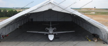 China 30m Clear Span Aircraft Hangar Tent Movable Aluminum White PVC Cover For Military distributor