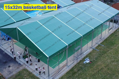 China 5*32M Flame Retardant Movable Aluminum PVC Event Tent with Green Roof Cover for Outside Basketballs distributor