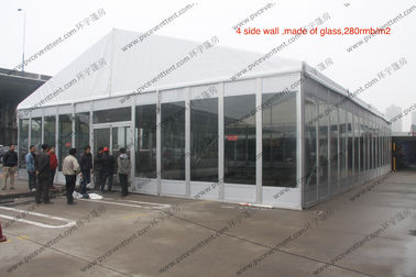China Temporary Movable PVC Event Tent White Glass Walls Waterproof For Car Show distributor