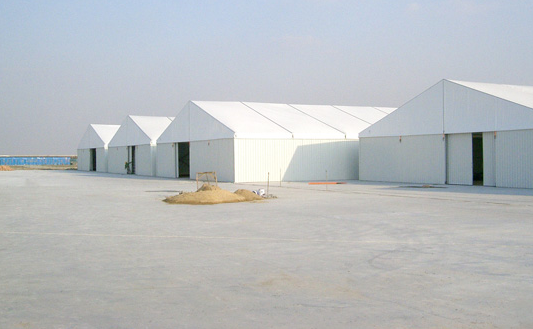 Aluminum Frame Outdoor Warehouse Storage Tent With Sandwich / ABS Sidewalls