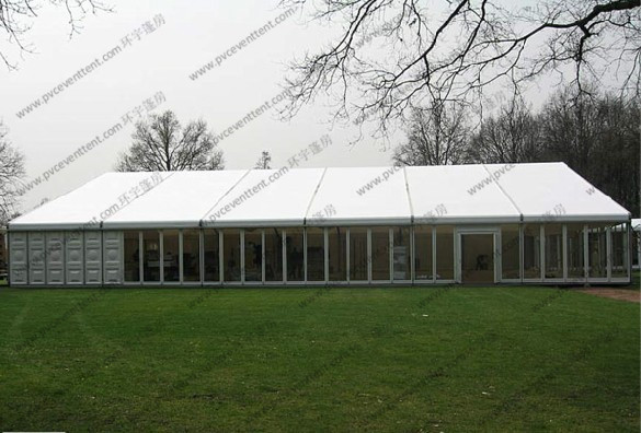 20M Clear Span Outdoor Event Tent with Luxury Glass Wall and Glass Door and AC System for Parties Exhbition Trade Show