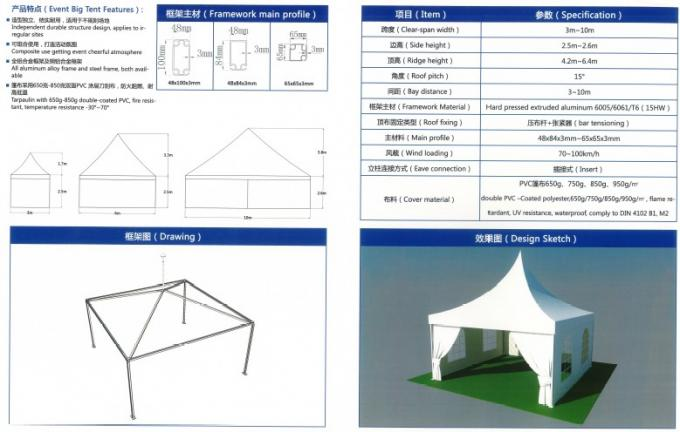 Aluminum Trade Show Canopy Tents White Square Side Windows Steel Pegs Fixing