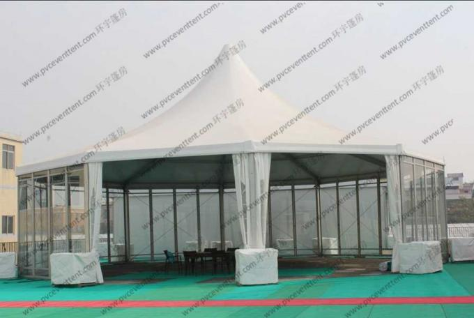 White PVC Pagoda Party Tent , Luxury Outdoor Canopy Tent White With Glass Sidewalls