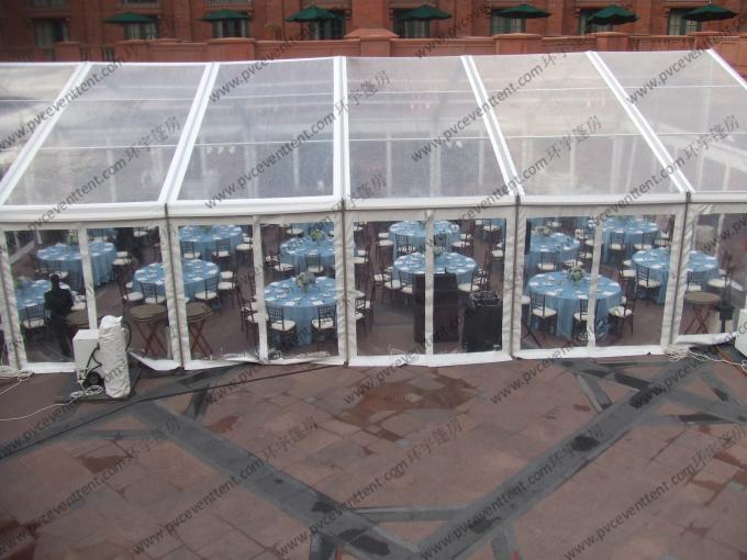 PVC Roof Cover Transparent Marquee Tent , Business Use Clear Top Marquee Inside Decoration