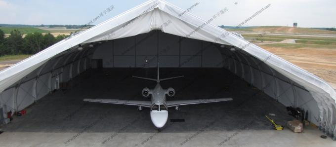 White PVC Aircraft Hangar Tent Anti UV , Military Style Tents With Rolling Door