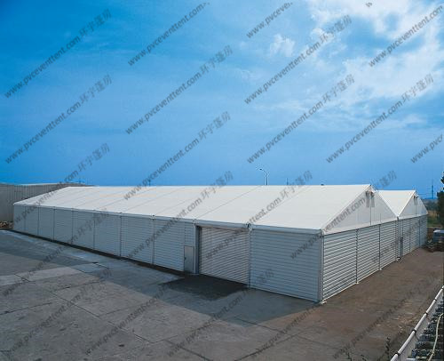 Firm 18m Steel Frame Warehouse Storage Tent , White PVC Fabric Tent For Storage